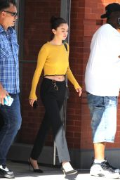 Selena Gomez in Yellow Sweater - NYC 09/27/2017