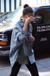 Selena Gomez Sports an Oversized Denim Shirt - NYC 09/27/2017