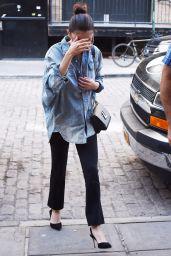Selena Gomez Sports an Oversized Denim Shirt - NYC 09/27/2017