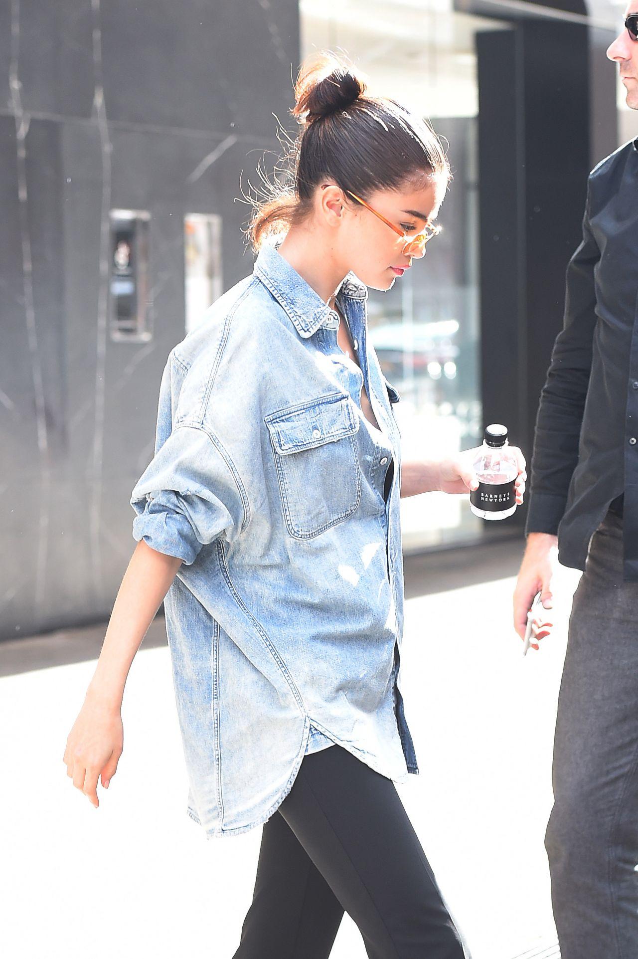 366149679815 Selena Gomez Sports an Oversized Denim Shirt - NYC 09/27/2017