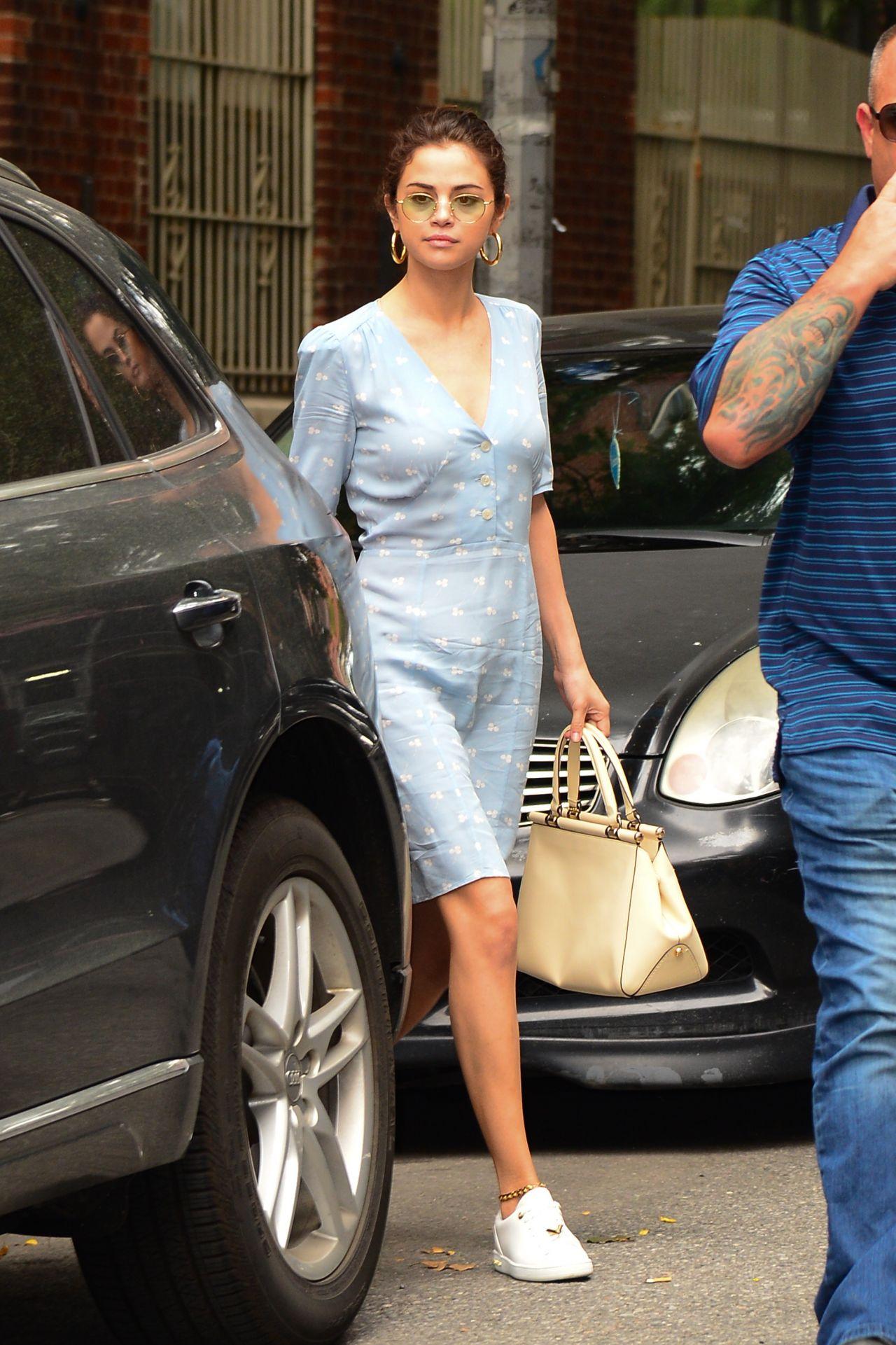 Selena Gomez Wearing A Blue Dress In Nyc 09 15 2017