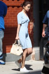 Selena Gomez - Wearing a Blue Dress in NYC 09/15/2017