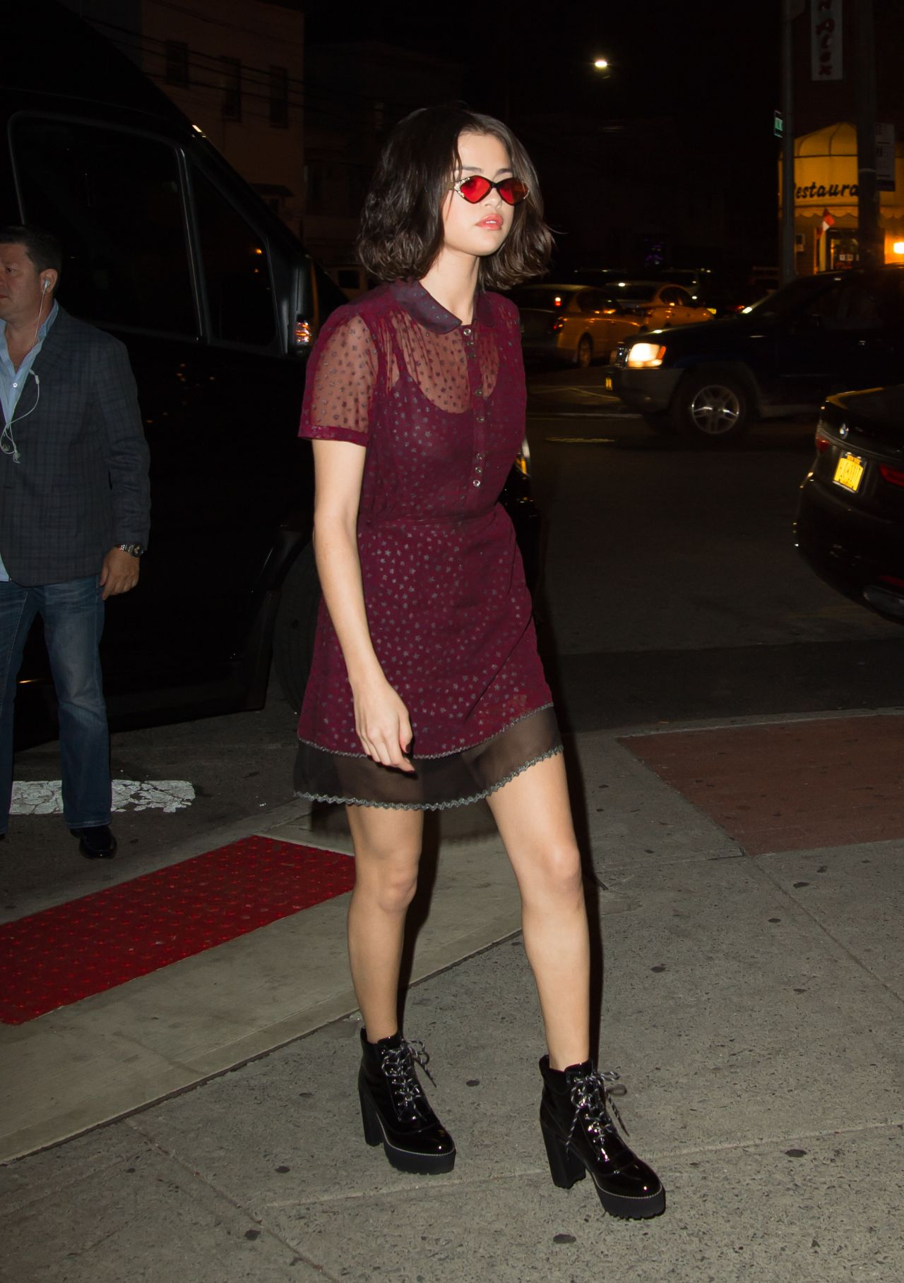 Selena Gomez Wears A Purple Sheer Dress Night Out In Nyc