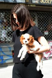 Selena Gomez With Her Puppy - Woody Allen Film Set in NYC 09/19/2017
