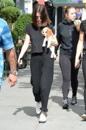 Selena Gomez With Her Puppy - Woody Allen Film Set in NYC 09/19/2017