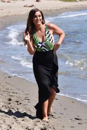 Vicky Pattison in Swimsuit Filming on Beach in Marbella 09/17/2017