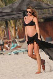 Abbey Clancy in a Black Bikini in Dubai