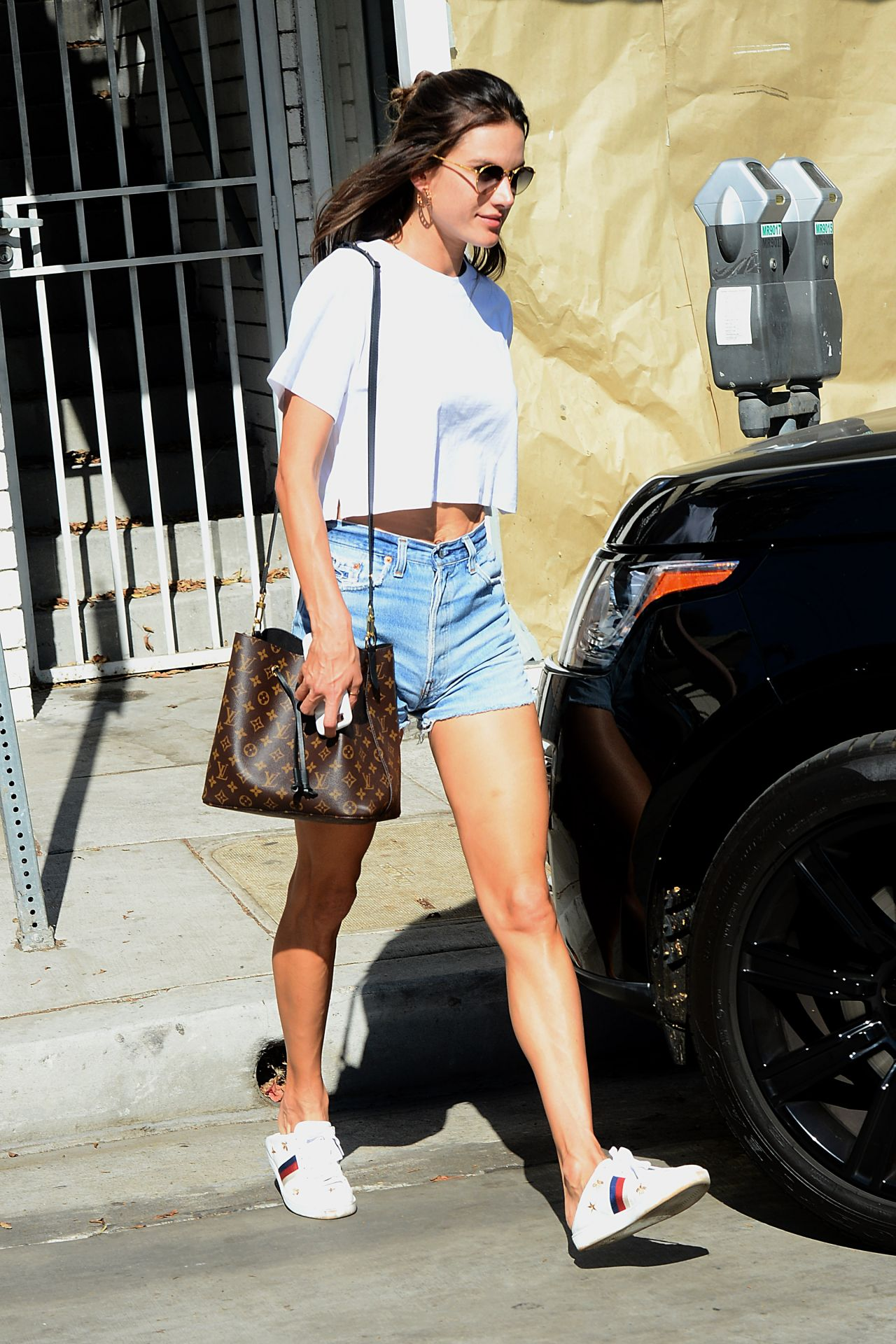 Alessandra Ambrosio in Jeans Shorts - Out in West Hollywood 10/26/2017