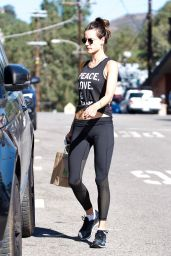 Alessandra Ambrosio in Spandex - Brentwood 10/23/2017