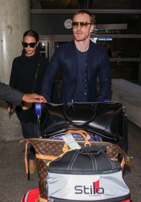 Alicia Vikander and Michael Fassbender at LAX Airport in LA 10/04/2017