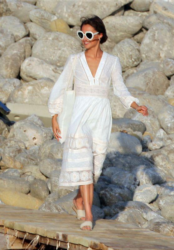 Alicia Vikander - Enjoying a Beach Party in Ibiza 10/14/2017