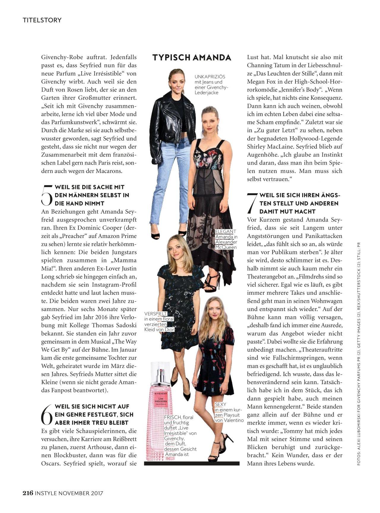 Amanda Seyfried - InStyle Magazine Germany Issue, November 2017