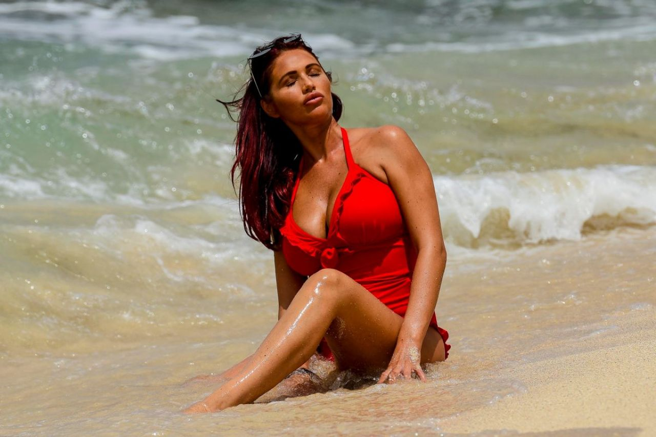 Amy Childs in a Red Swimsuit - Beach in Cape Verde, October 2017