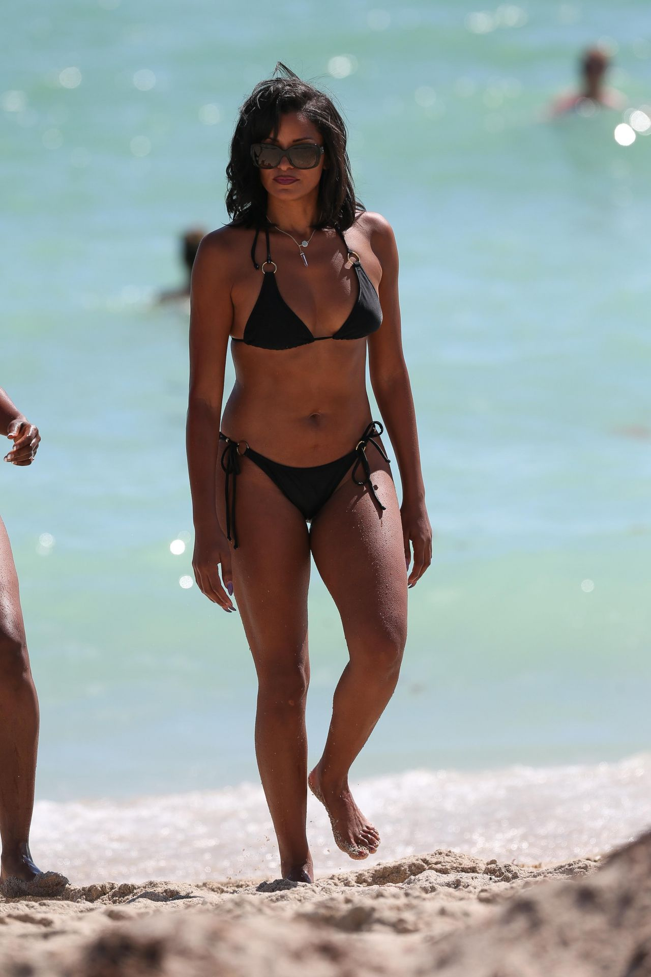 Top 16 Miss Universe 2017 >> Claudia Jordan in a Black Triangle Top Bikini - Miami Beach 10/15/2017
