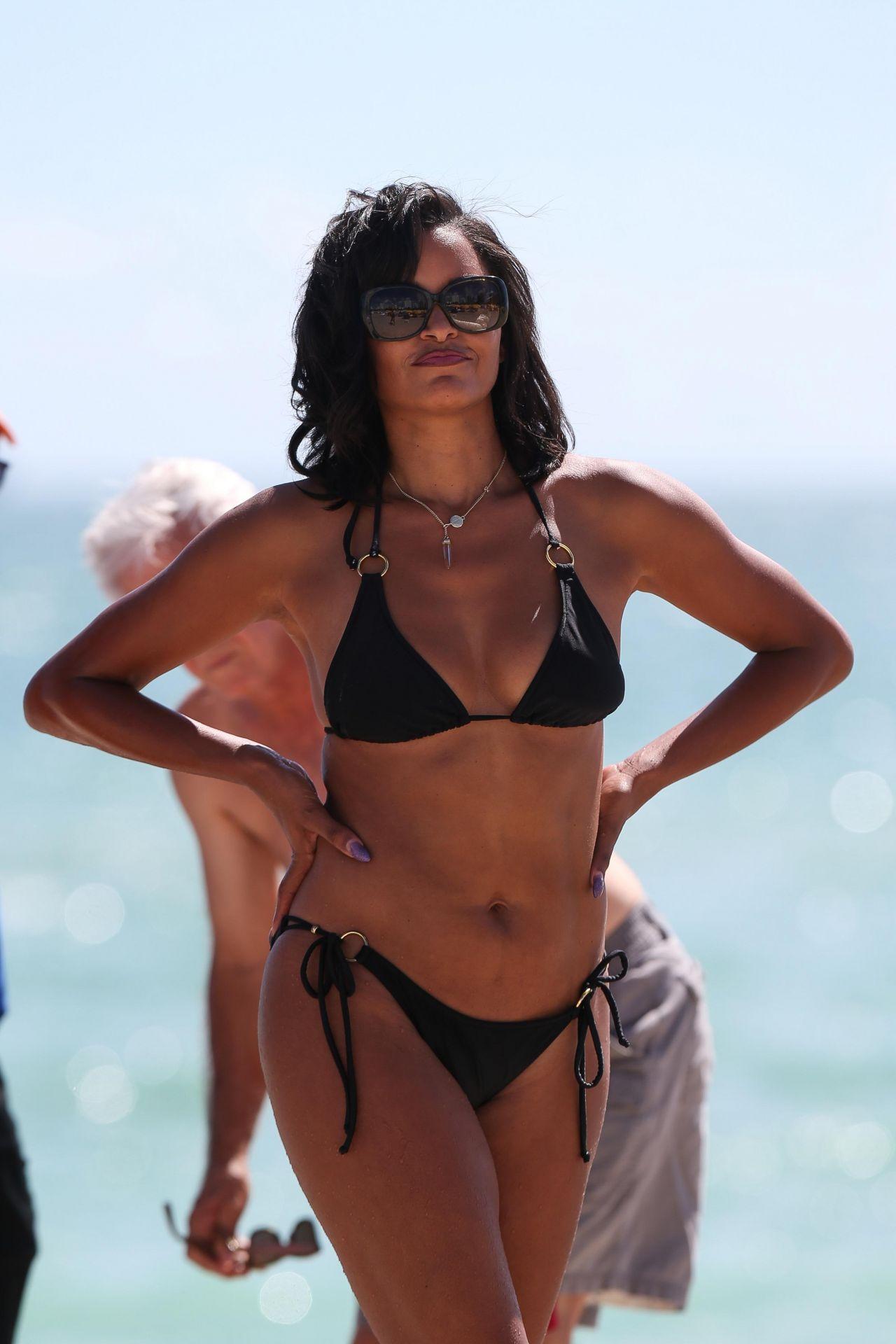 Claudia Jordan In A Black Triangle Top Bikini Miami