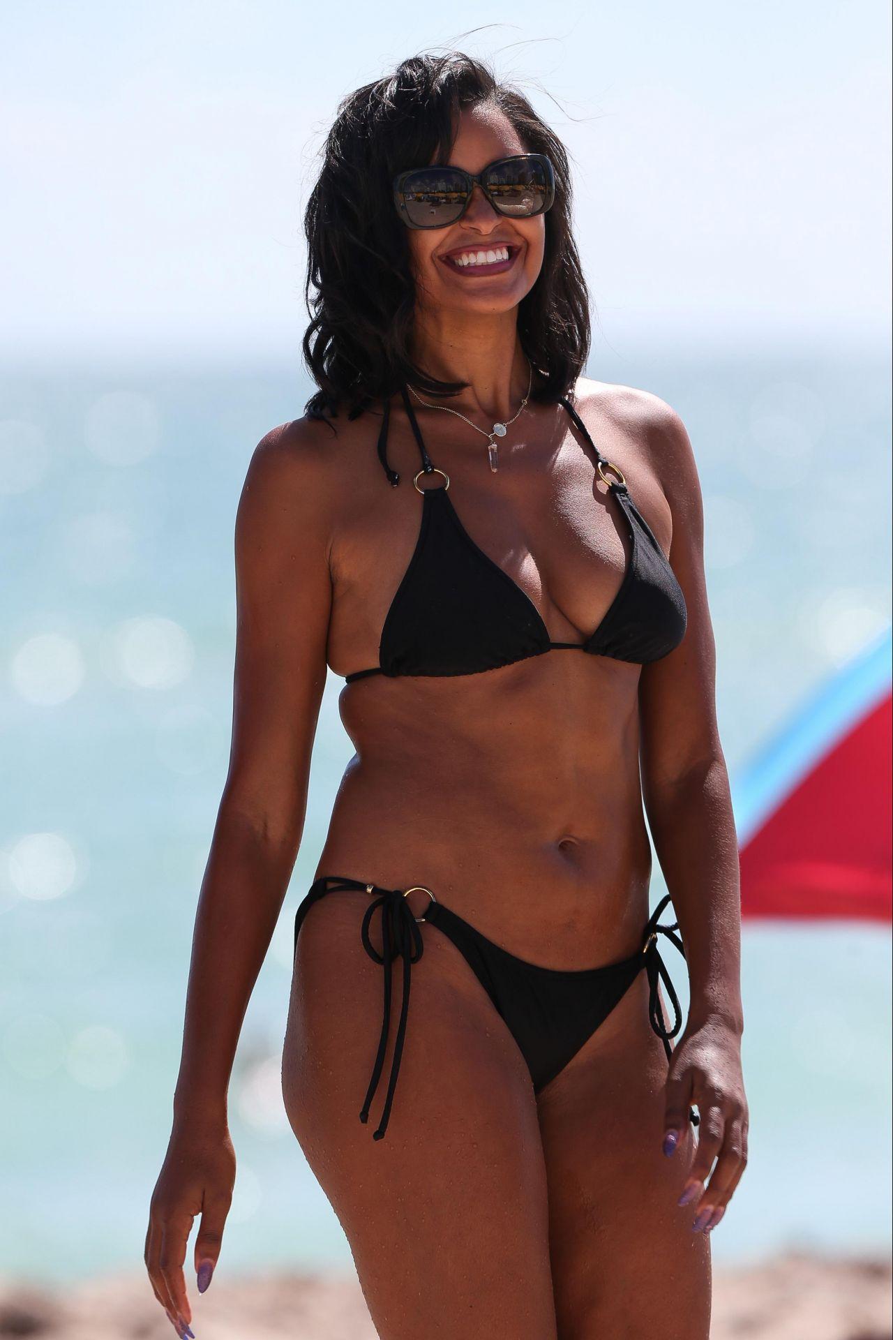 Claudia Jordan in a Black Triangle Top Bikini - Miami ...