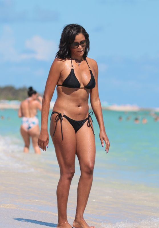 Claudia Jordan in a Black Triangle Top Bikini - Miami Beach 10/15/2017