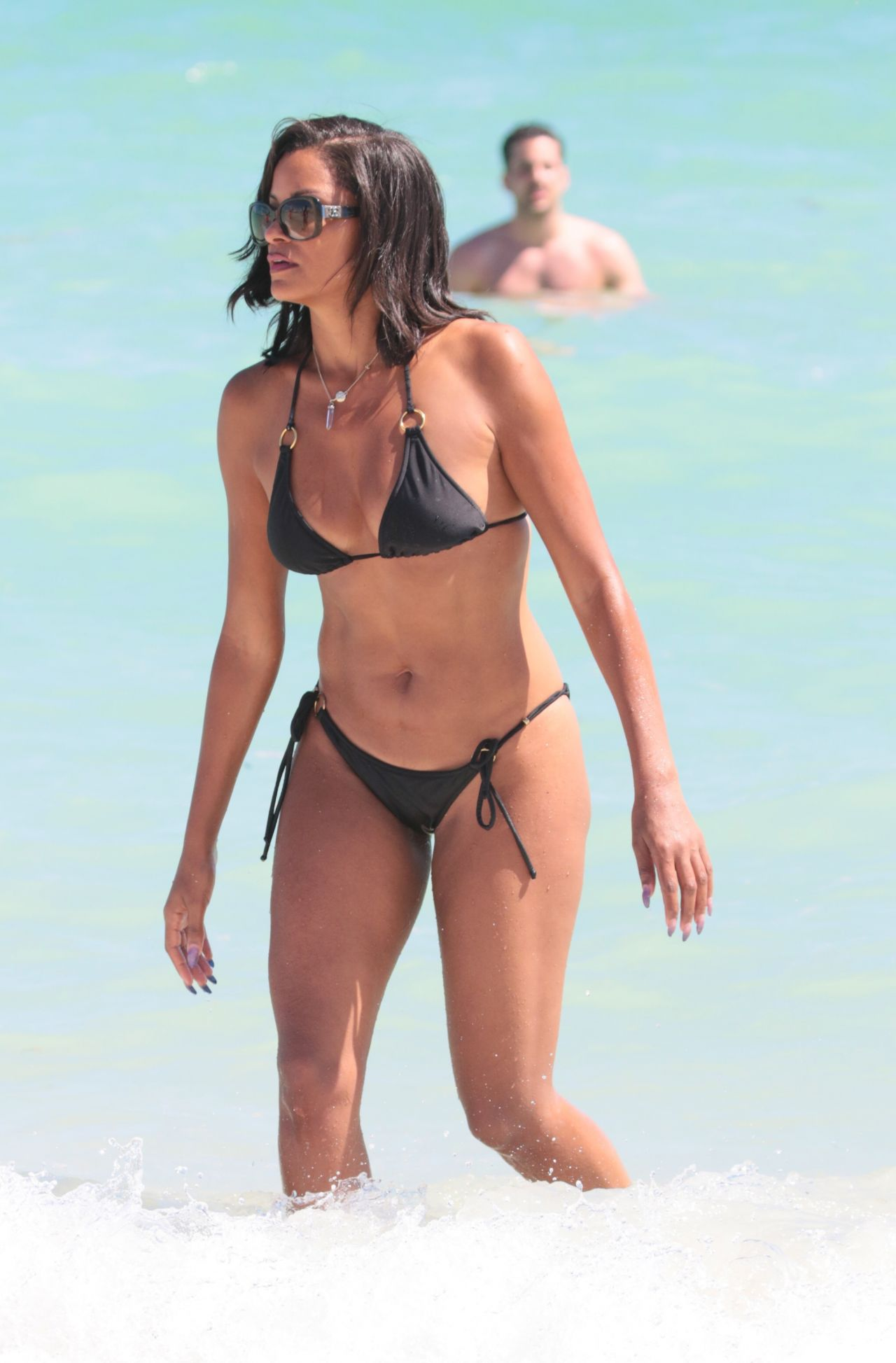 Claudia Jordan in Black Bikini at the beach in Miami Beach