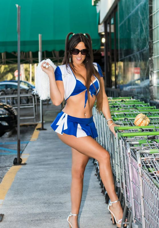 Claudia Romani in a Cheerleader Halloween Outfit - Publix in South Beach 10/29/2017