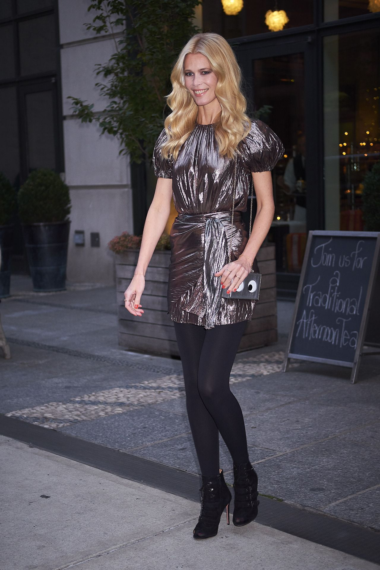 Claudia Schiffer in a Metallic dress