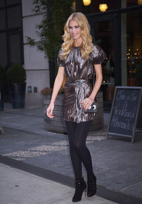 Claudia Schiffer in a Metallic dress - NYC 10/17/2017