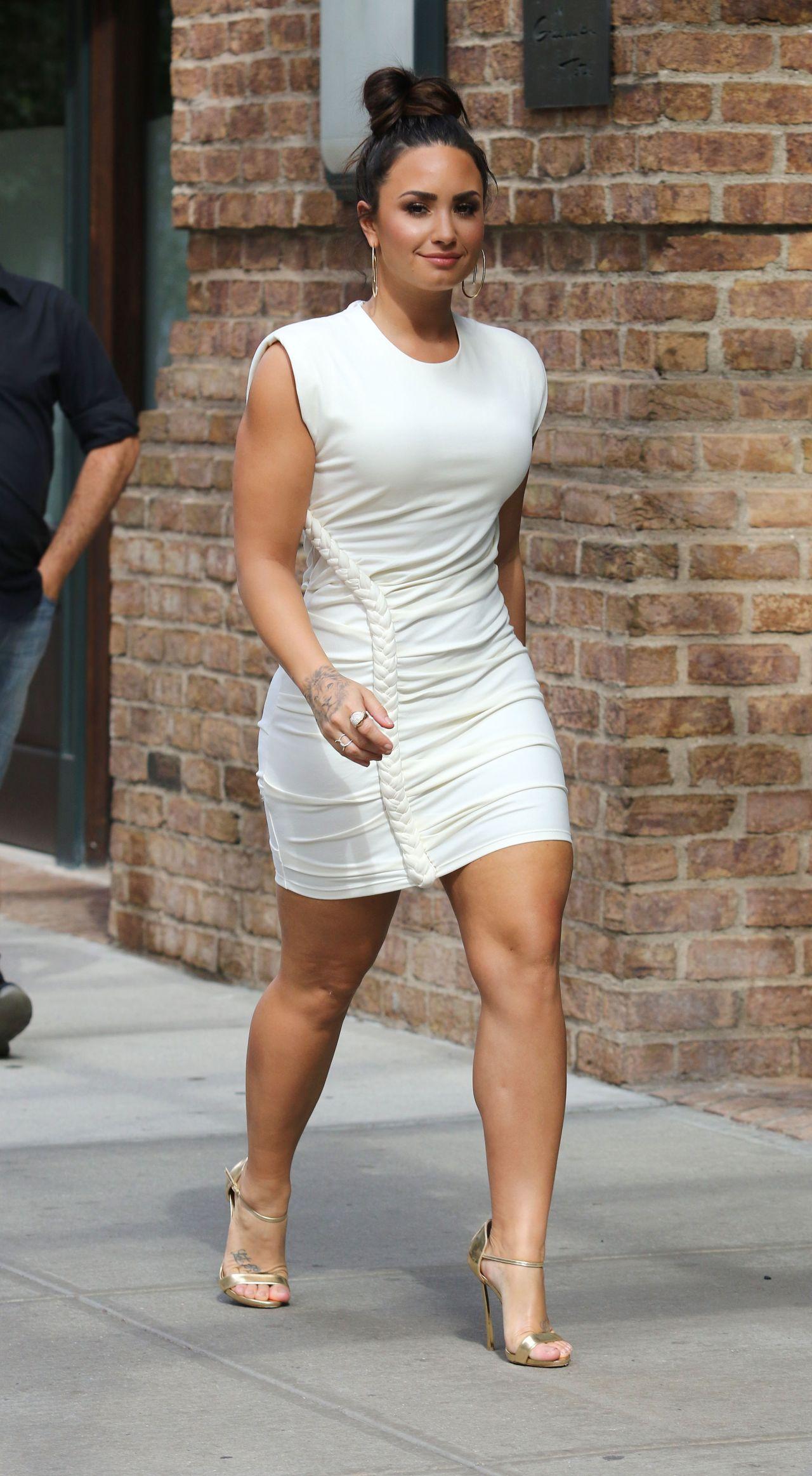 Demi Lovato in White Mini Dress - Manhattans Tribeca
