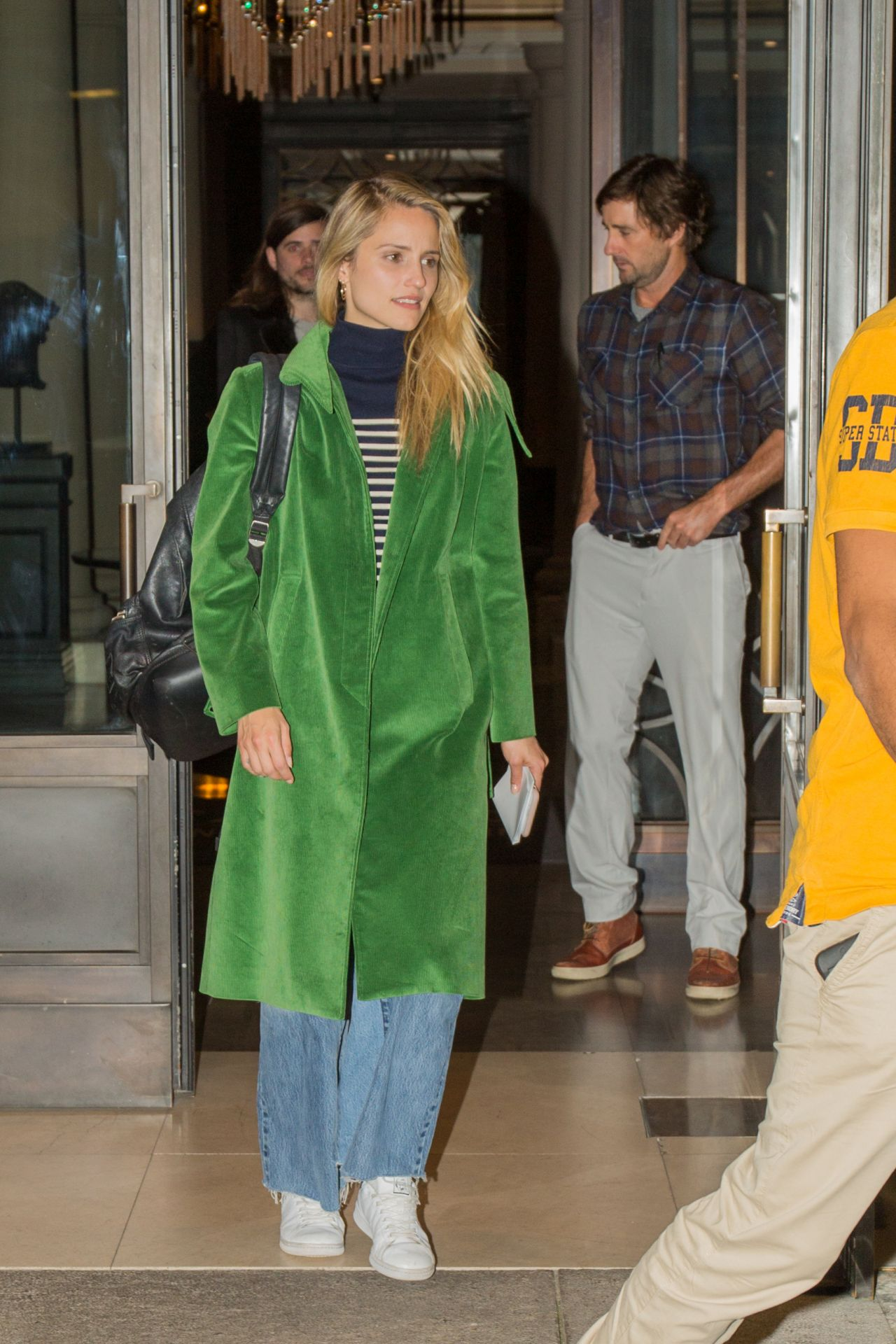 dianna agron in a forest green coat and denim skirt u2013 outside the titanic hotel in berlin