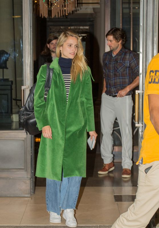 Dianna Agron in a Forest Green Coat and Denim Skirt - Outside the Titanic Hotel in Berlin 10/16/2017