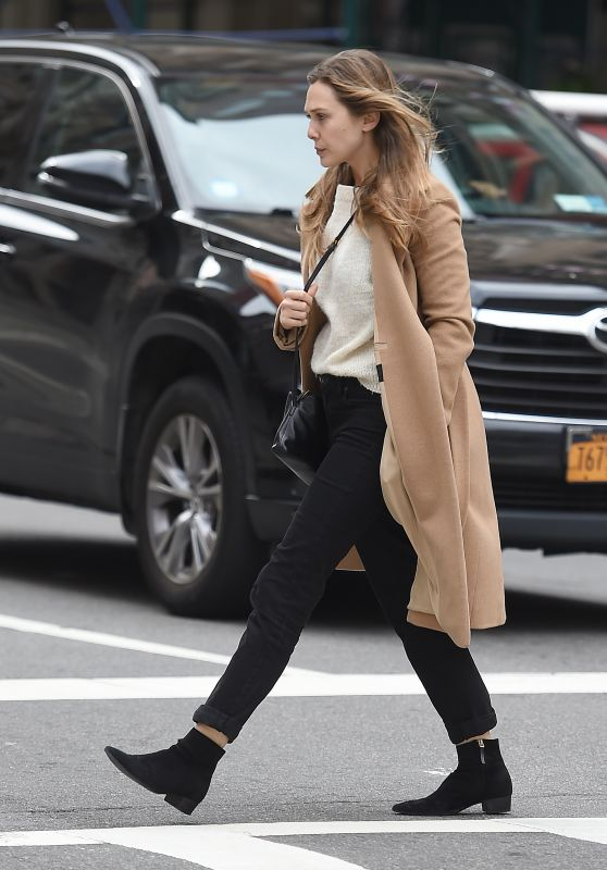 Elizabeth Olsen in a Beige Coat - New York City 10/16/2017