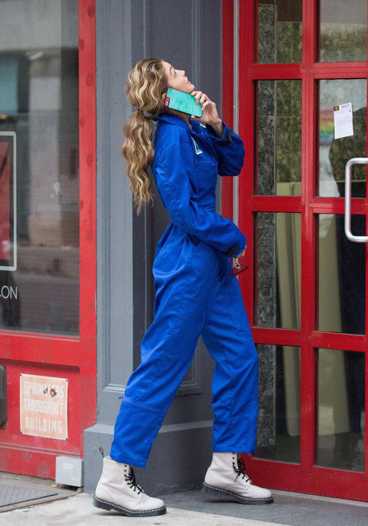 Gigi Hadid in a Blue NASA Jumpsuit - NYC 10/25/2017