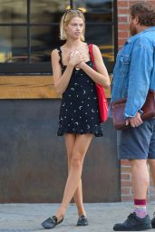 Hailey Clauson in Summer Mini Dress - Out in NYC 10/05/2017