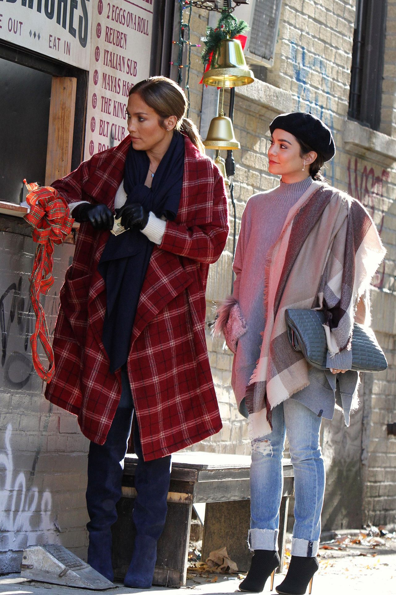 "Jennifer Lopez and Vanessa Hudgens - ""Second Act"" Set in NYC 10/27/2017"