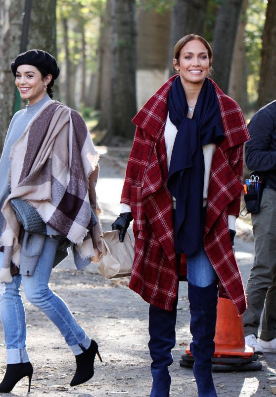 """Jennifer Lopez and Vanessa Hudgens - """"Second Act"""" Set in NYC 10/27/2017"""