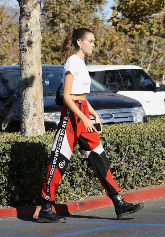 Kaia Gerber in Bottoms by I. Am. Gia With a Classic White Crop Top