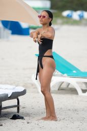 Karrueche Tran in a Black Monokini on the Beach in Miami Beach 10/18/2017