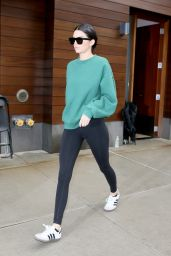 Kendall Jenner - Wearing Black Leggings and a Green Sweatshirt in NYC 10/24/2017