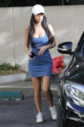 Kourtney Kardashian in Form-Fitting Blue Dress - Los Angeles 10/17/2017