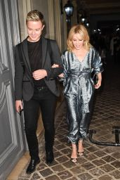 Kylie Minogue in a Sparkly Jumpsuit - Heads Out to Dinner at Marius Et Janette in Paris 10/02/2017