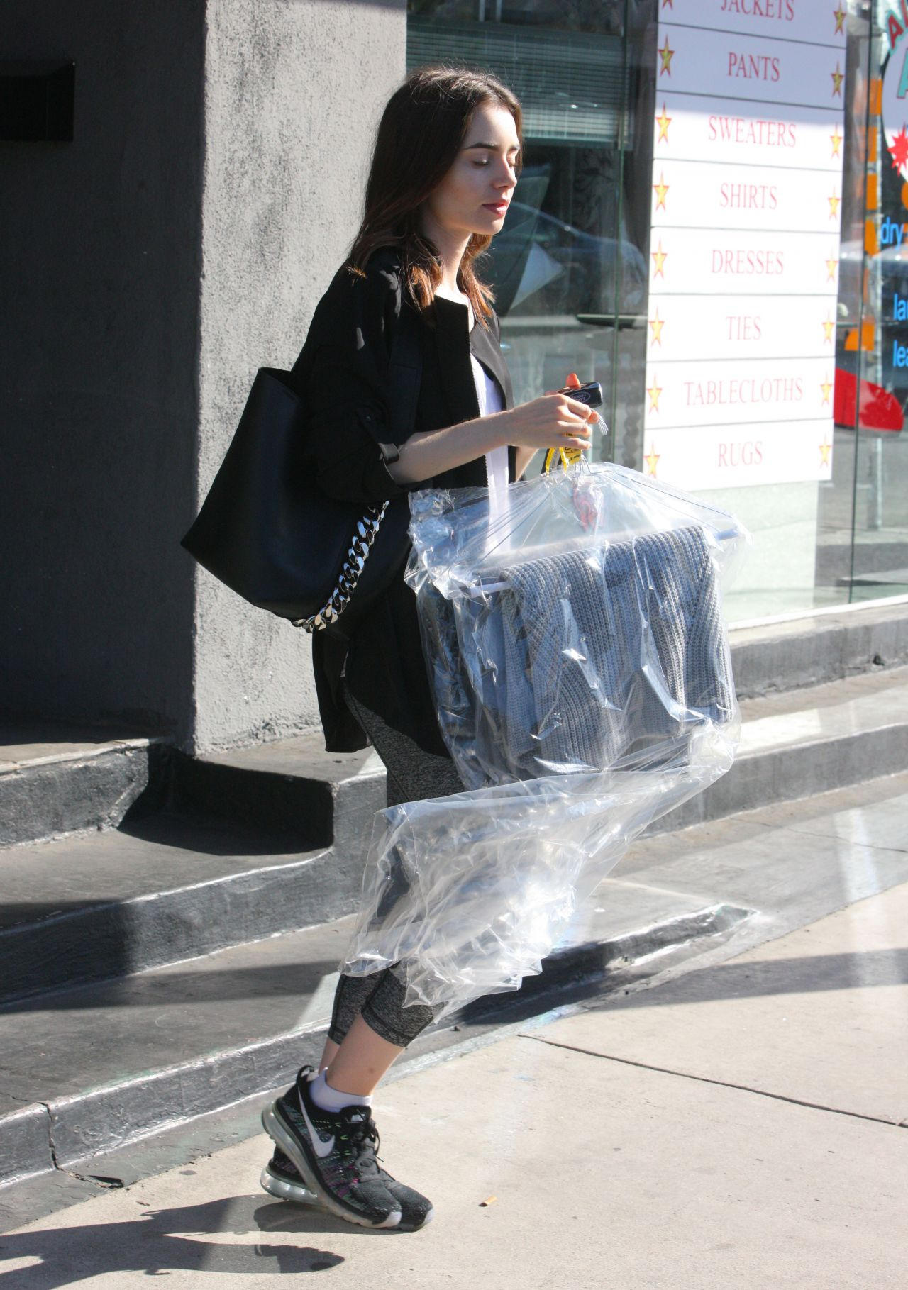 Lily Collins Picks up Her Dry Cleaning - West Hollywood 10/11/2017