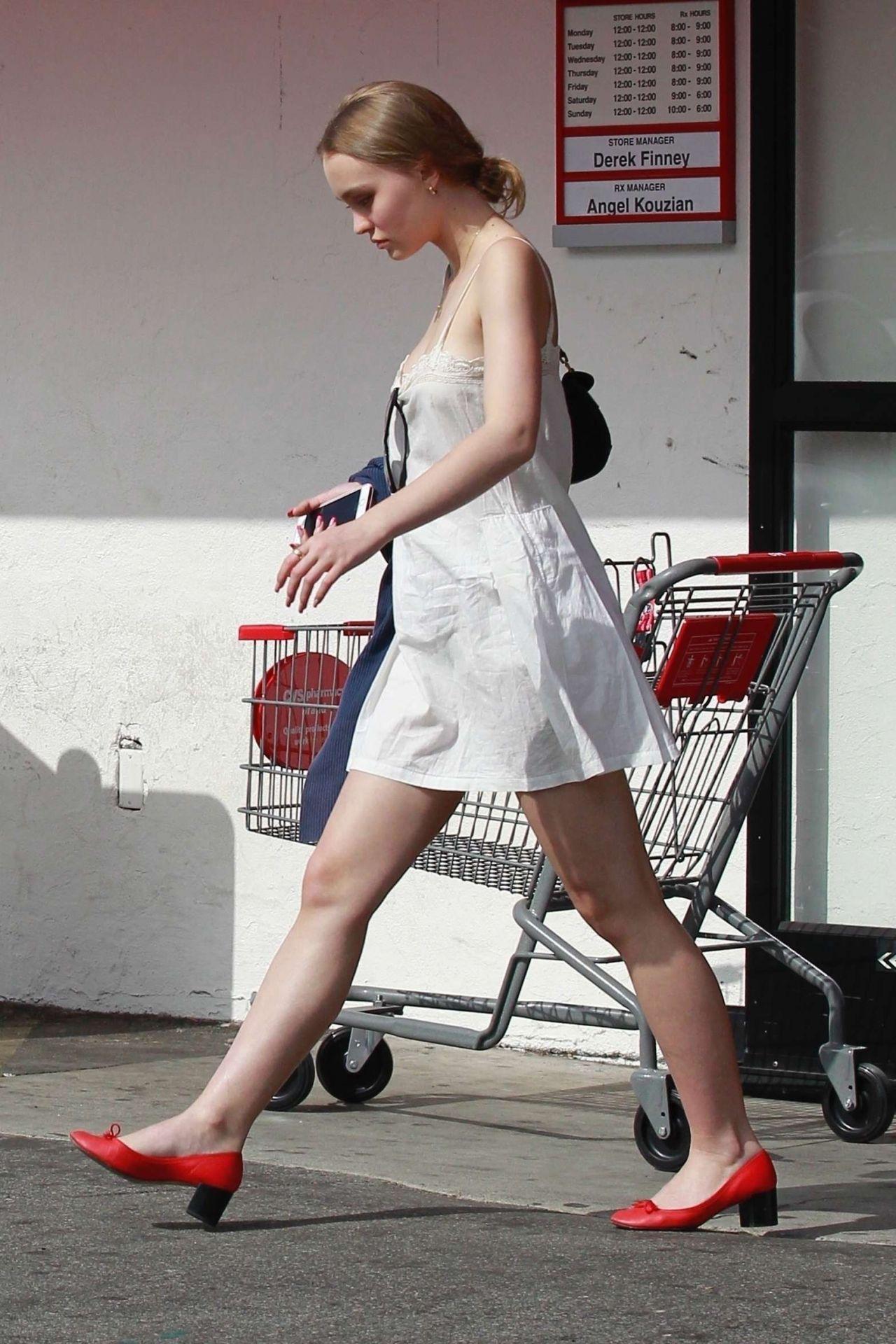Lily-Rose Depp Leggy in Mini Dress - Studio City 10/29/2017