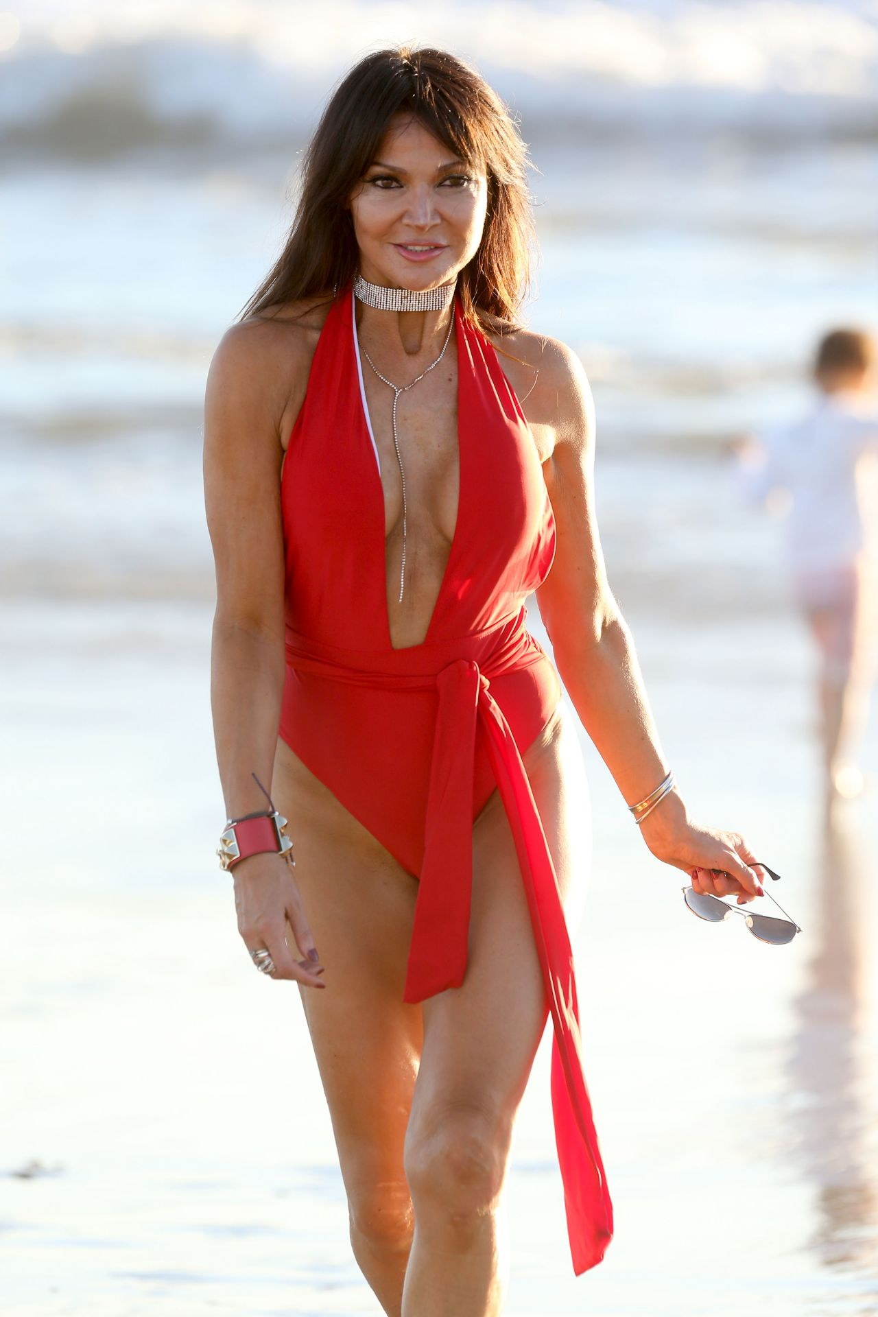 Lizzie Cundy In A Red And Black Swimsuit In Miami 10 25 2017