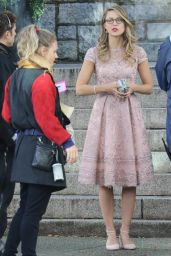 """Melissa Benoist - On the Set of """"Supergirl"""" in Vancouver 10/11/2017"""