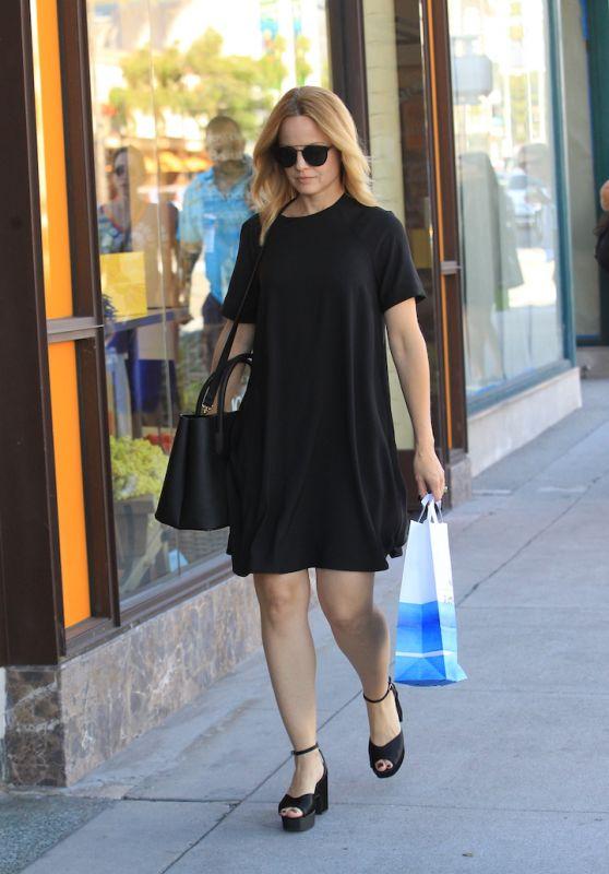 Mena Suvari in a Black Mini Dress - Beverly Hills 10/26/2017