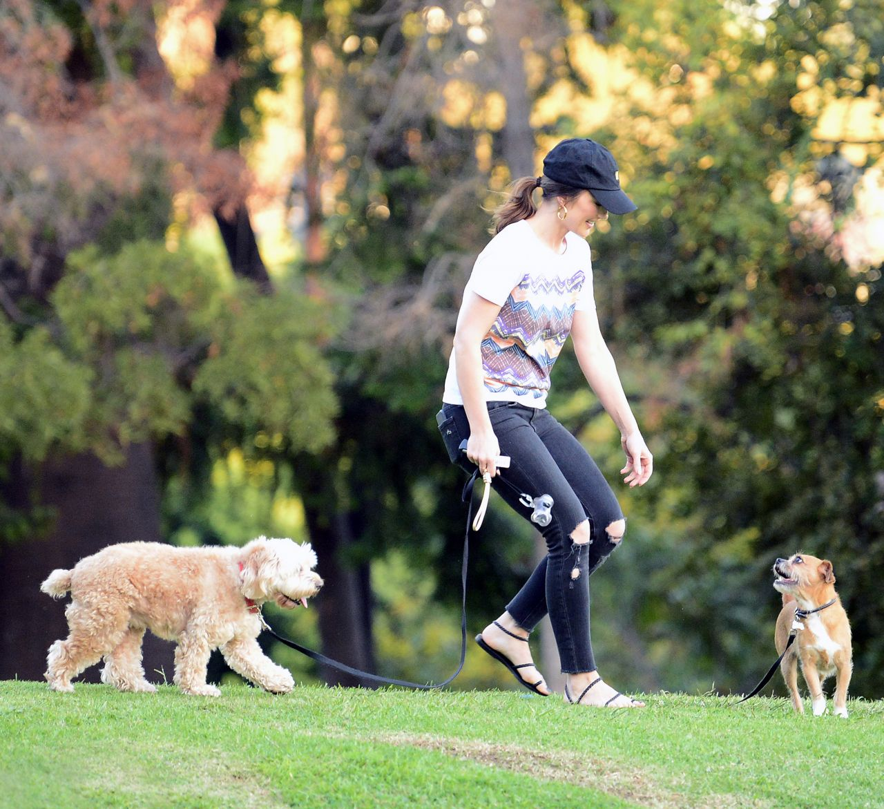 Minka Kelly Street Style - Takes Her Dogs to a Park in LA