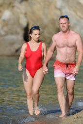 Ola Jordan in Red Swimsuit in Skiathos, Greece