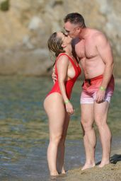 Ola Jordan in Red Swimsuit in Skiathos, Greece