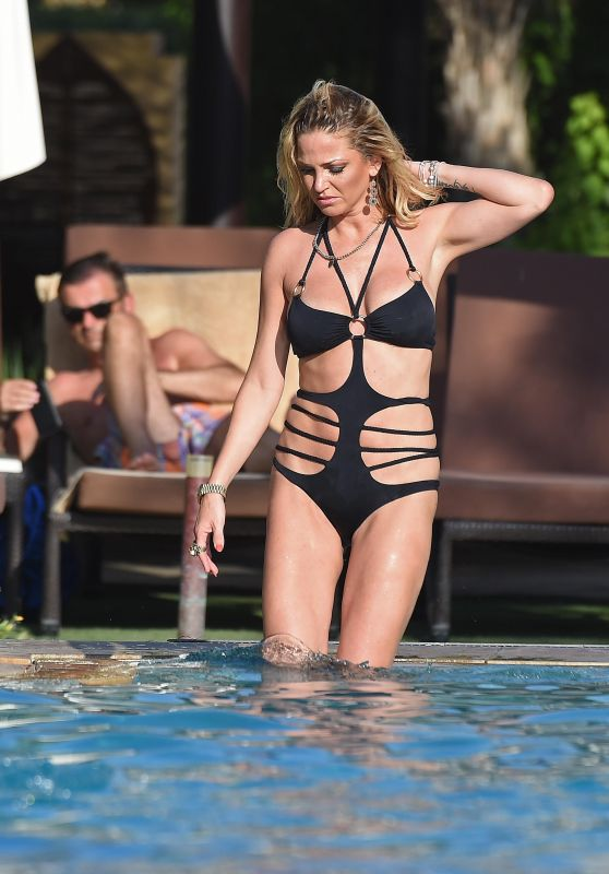 Sarah Harding in Black Bikini in Dubai
