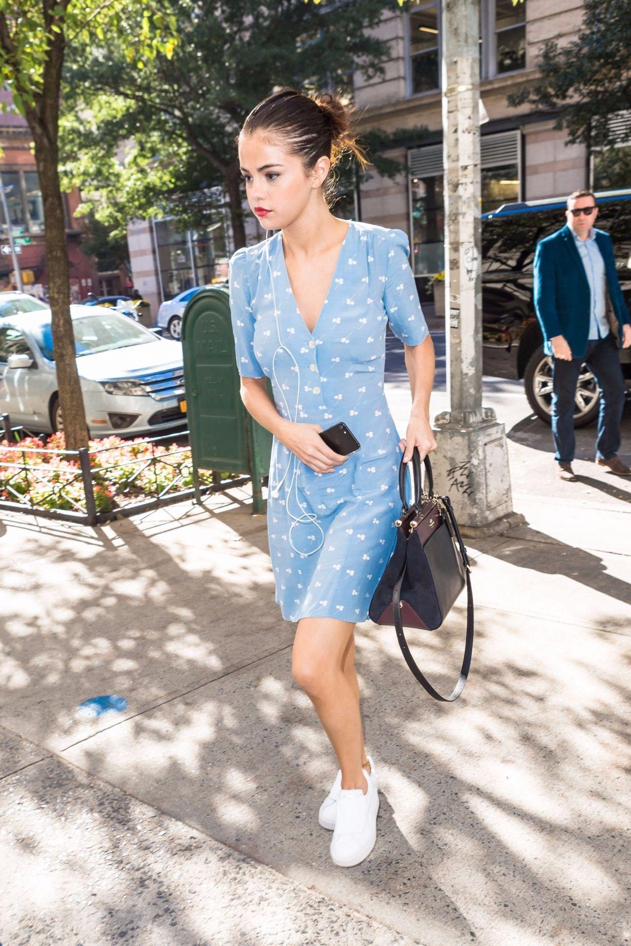 Selena Gomez in Blue Summer Dress in NYC