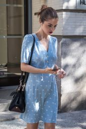 Selena Gomez in Blue Summer Dress in NYC