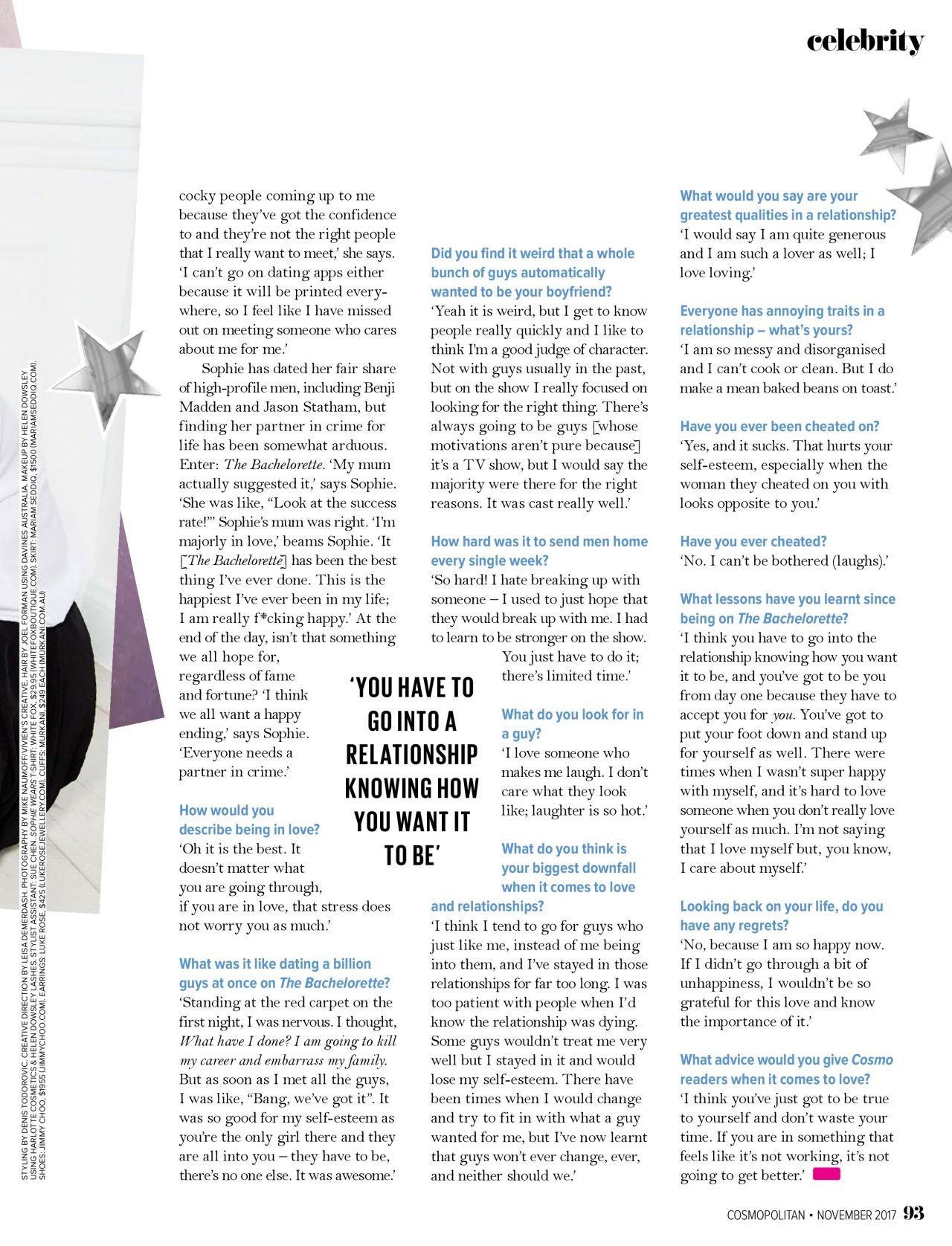 Sophie Monk - Cosmopolitan Australia November 2017 Issue